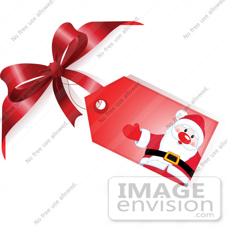 Stock Illustration Of A Red Santa Xmas Gift Tag Attached To A Red