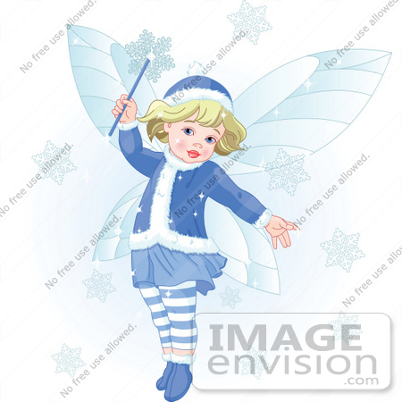 #48533 Royalty-Free (RF) Clip Art Illustration of a Cute Blond Xmas Fairy Making Snowflakes Fall by pushkin