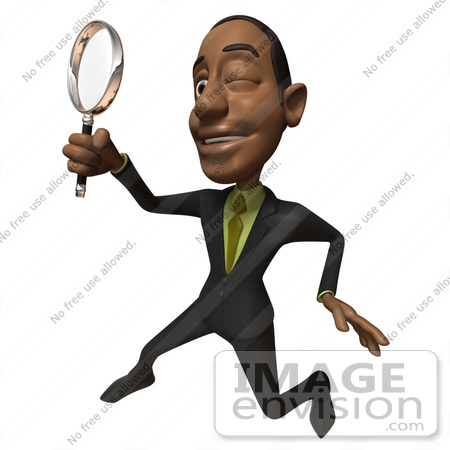 #48545 Royalty-Free (RF) 3d Illustration Of A Black Businessman Mascot Holding A Magnifying Glass - Version 3 by Julos