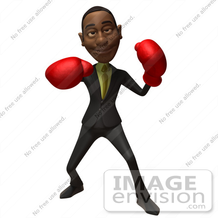 #48560 Royalty-Free (RF) 3d Illustration Of A Black Businessman Mascot Boxing - Version 3 by Julos