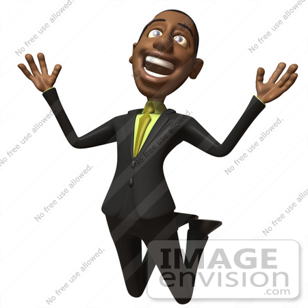 #48573 Royalty-Free (RF) 3d Illustration Of A Black Businessman Mascot Jumping And Smiling - Version 1 by Julos