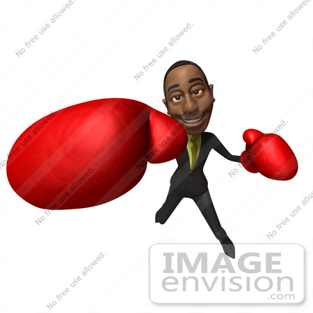 #48581 Royalty-Free (RF) 3d Illustration Of A Black Businessman Mascot Boxing - Version 6 by Julos