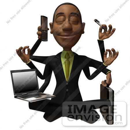 #48586 Royalty-Free (RF) 3d Illustration Of A Black Businessman Mascot Multi Tasking - Version 1 by Julos