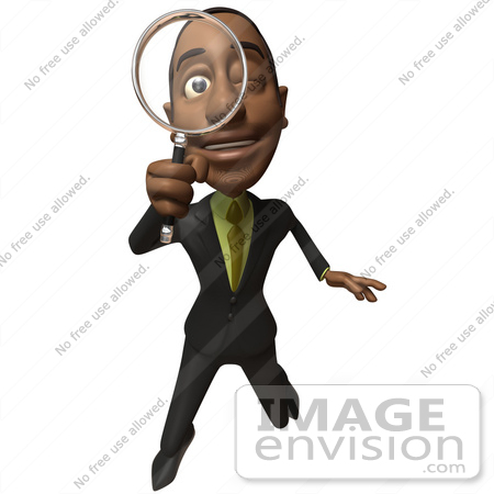 #48587 Royalty-Free (RF) 3d Illustration Of A Black Businessman Mascot Holding A Magnifying Glass - Version 2 by Julos