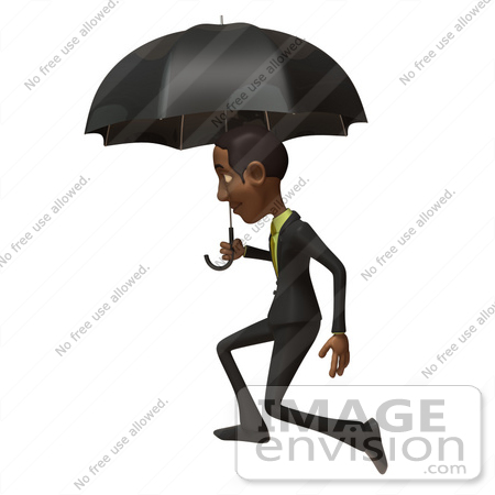 #48594 Royalty-Free (RF) 3d Illustration Of A Black Businessman Mascot Walking Under An Umbrella by Julos