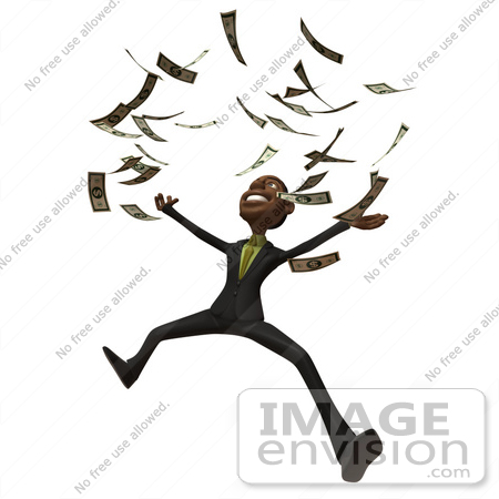 #48600 Royalty-Free (RF) 3d Illustration Of A Black Businessman Mascot Throwing Cash Into The Air - Version 1 by Julos