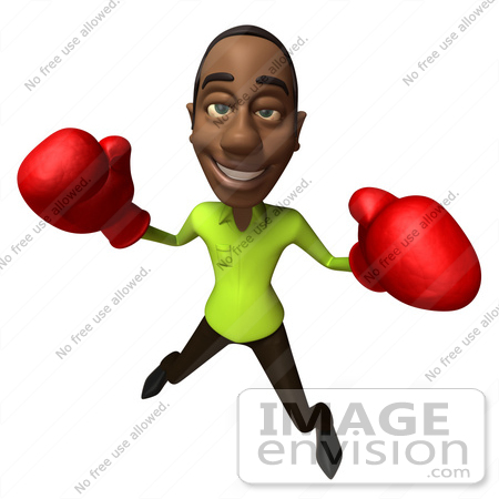 #48624 Royalty-Free (RF) Illustration Of A 3d Black Man Mascot Boxing - Version 5 by Julos