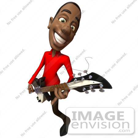 #48635 Royalty-Free (RF) Illustration Of A 3d Black Man Mascot Playing An Electric Guitar - Version 5 by Julos