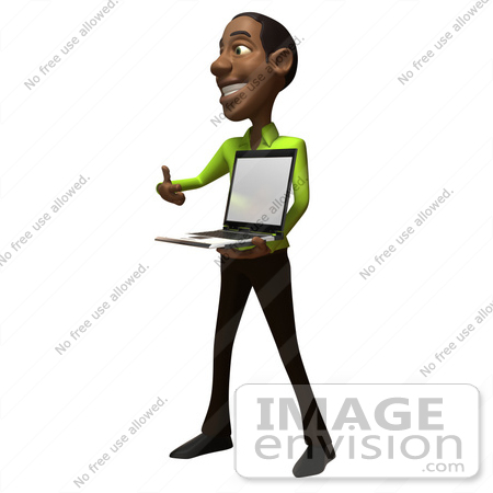 #48638 Royalty-Free (RF) Illustration Of A 3d Black Man Mascot Holding A Laptop - Version 2 by Julos