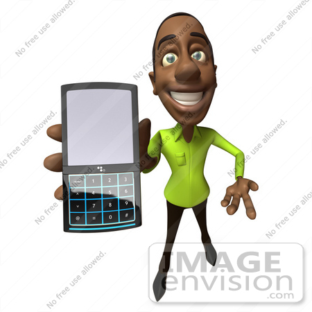 #48646 Royalty-Free (RF) Illustration Of A 3d  Black Man Mascot Holding A Cell Phone - Version 4 by Julos