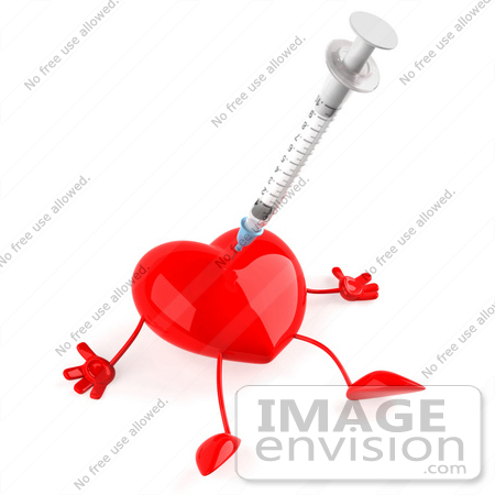 #48737 Royalty-Free (RF) 3d Illustration Of A Red Heart Mascot Pricked With A Syringe by Julos