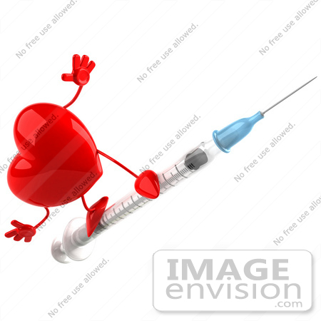#48738 Royalty-Free (RF) 3d Illustration Of A Red Heart Mascot On A Swine Flu Vaccine Syringe by Julos