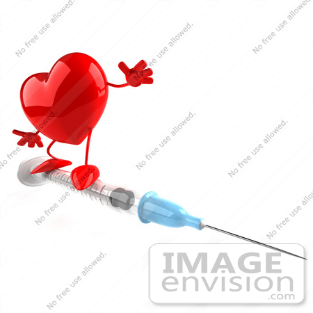 #48742 Royalty-Free (RF) 3d Illustration Of A Red Heart Mascot On An H1N1 Swine Flu Vaccine Syringe by Julos