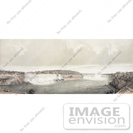 #48800 Royalty-Free Stock Illustration Of Three Men On Shore, Viewing Niagara Falls by JVPD