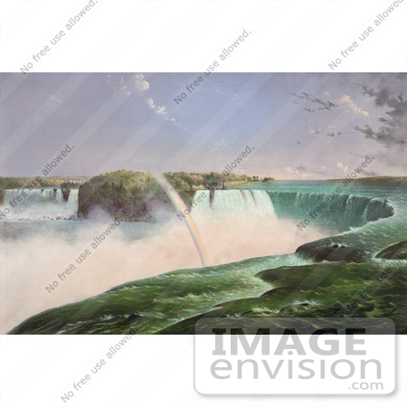 #48801 Royalty-Free Stock Illustration Of A Rainbow Over The Mist Of Niagara Falls, From The Canadian Side by JVPD