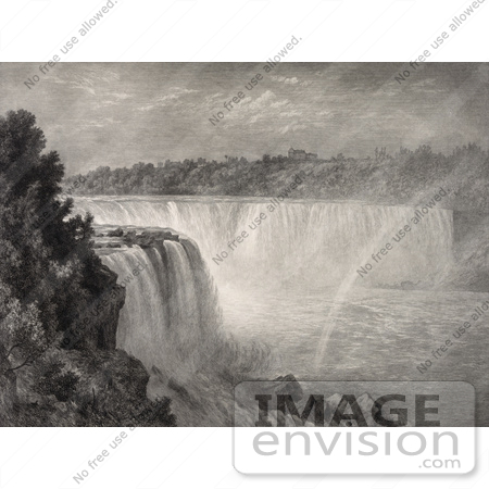 #48804 Royalty-Free Stock Illustration Of A Sepia Sketch Of A Rainbow At Niagara Falls by JVPD