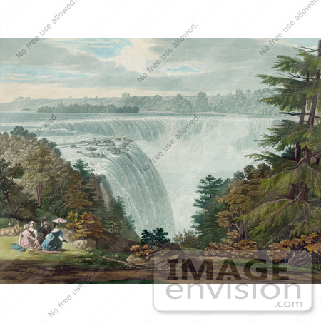 #48805 Royalty-Free Stock Illustration Of A Man And Three Ladies Picnicing At Goat Island By The American Falls, Niagara Falls by JVPD