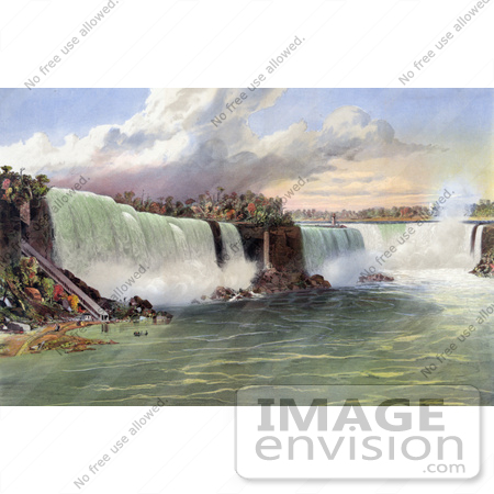#48806 Royalty-Free Stock Illustration Of The Beach And Incline Railway At Niagara Falls by JVPD