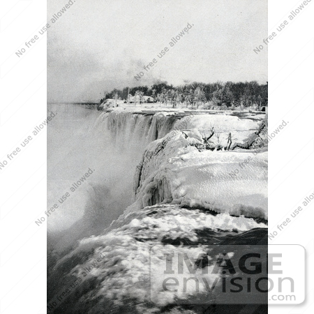 #48814 Royalty-Free Stock Photo Of Snow And Ice At The Top Of American Falls In Winter, Niagara Falls by JVPD