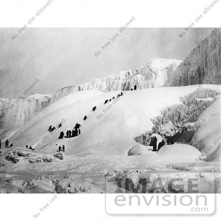 #48818 Royalty-Free Stock Photo Of People Climbing A Snowy Hill To The Icy Niagara Falls by JVPD