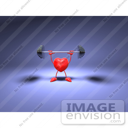 #48839 Royalty-Free (RF) Illustration Of A Romantic 3d Red Love Heart Mascot Lifting A Barbell - Version 1 by Julos
