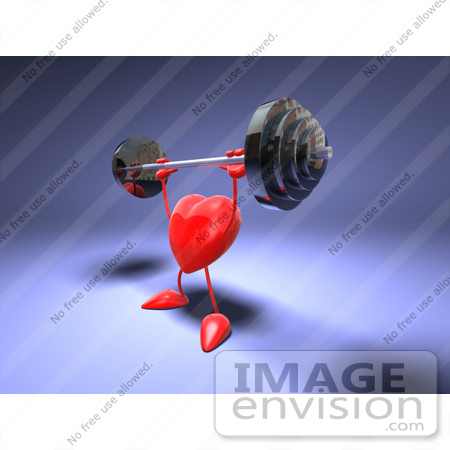#48840 Royalty-Free (RF) Illustration Of A Romantic 3d Red Love Heart Mascot Lifting A Barbell - Version 2 by Julos