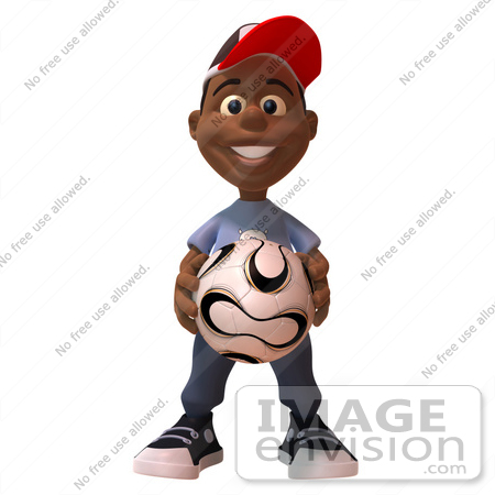 #48868 Royalty-Free (RF) Illustration Of A 3d Black Boy Holding A Soccer Ball by Julos