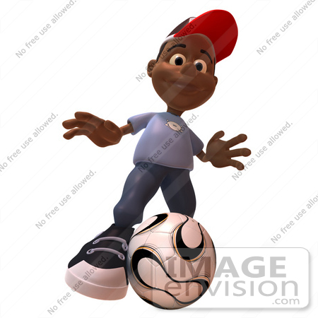 #48870 Royalty-Free (RF) Illustration Of A 3d Black Boy Playing Soccer - Version 3 by Julos