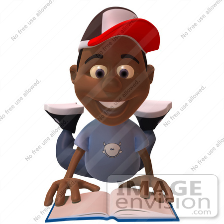 #48880 Royalty-Free (RF) Illustration Of A 3d Black Boy Reading A Book On His Belly - Version 1 by Julos