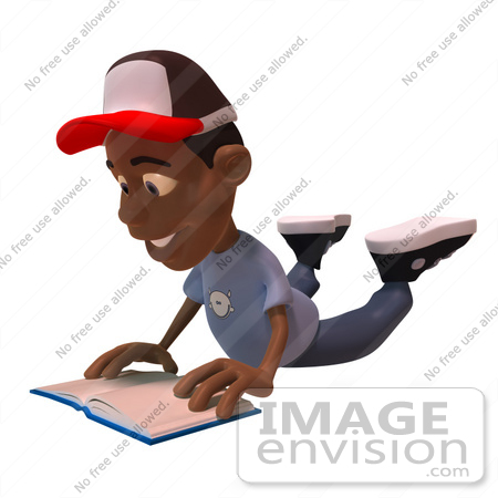 #48881 Royalty-Free (RF) Illustration Of A 3d Black Boy Reading A Book On His Belly - Version 2 by Julos
