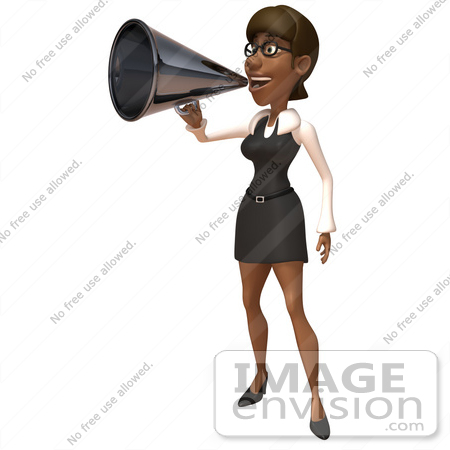 #48884 Royalty-Free (RF) Illustration Of A 3d Black Businesswoman Using A Megaphone - Version 1 by Julos
