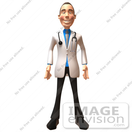 #48926 Royalty-Free (RF) Illustration Of A 3d White Male Doctor Standing And Facing Front by Julos
