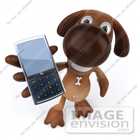 #49252 Royalty-Free (RF) Illustration Of A 3d Brown Dog Mascot Holding A Cell Phone by Julos
