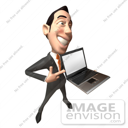 #49281 Royalty-Free (RF) Illustration Of A 3d Asian Businessman Holding A Laptop With A Blank Screen - Version 4 by Julos