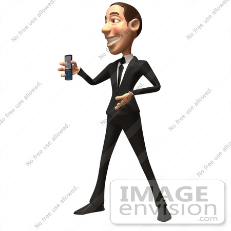 #49374 Royalty-Free (RF) Illustration Of A 3d White Corporate Businessman Holding A Cell Phone - Version 5 by Julos