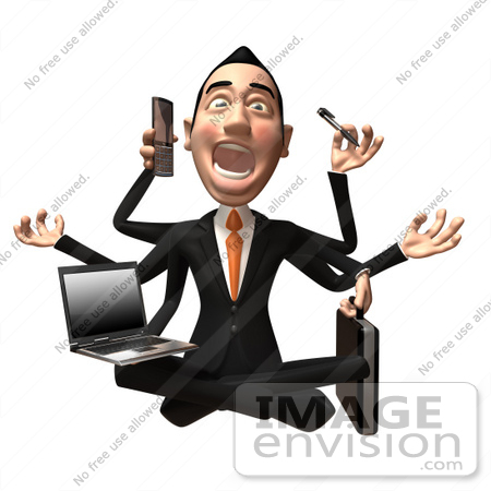 #49377 Royalty-Free (RF) Illustration Of A 3d Asian Businessman Multi Tasking - Version 2 by Julos