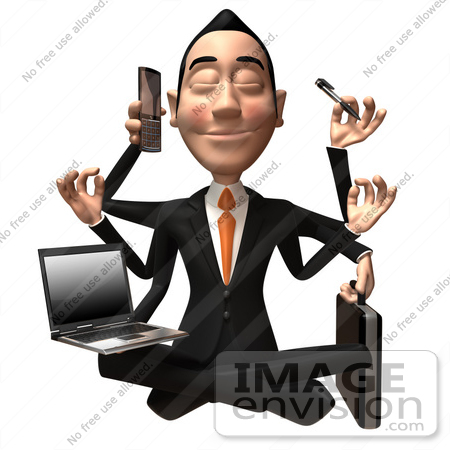 #49378 Royalty-Free (RF) Illustration Of A 3d Asian Businessman Multi Tasking - Version 1 by Julos