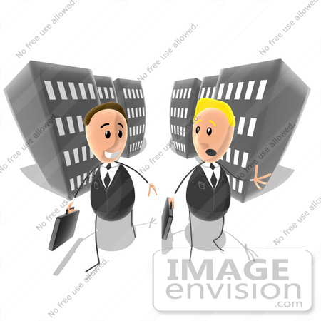 #49379 Royalty-Free (RF) Illustration of Two Businessmen Chatting And Walking On A City Street by Julos