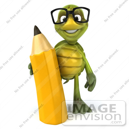 #49420 Royalty-Free (RF) Illustration Of A 3d Green Turtle Mascot Holding A Pencil - Version 1 by Julos
