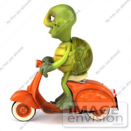 #49438 Royalty-Free (RF) Illustration Of A 3d Green Turtle Mascot Riding A Scooter - Version 1 by Julos