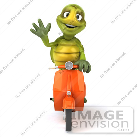 #49439 Royalty-Free (RF) Illustration Of A 3d Green Turtle Mascot Riding A Scooter - Version 3 by Julos