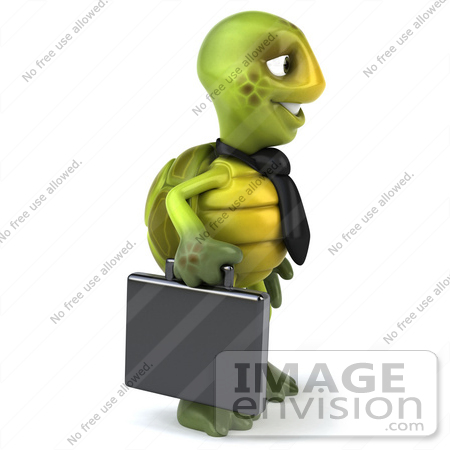 #49447 Royalty-Free (RF) Illustration Of A 3d Green Turtle Mascot Businessman With A Briefcase - Version 1 by Julos
