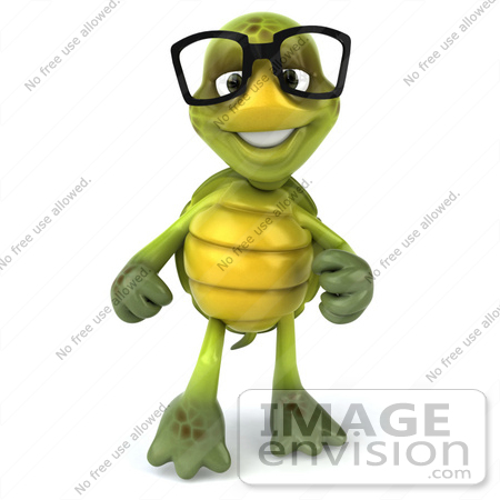 #49453 Royalty-Free (RF) Illustration Of A 3d Green Turtle Mascot Pointing And Smiling by Julos
