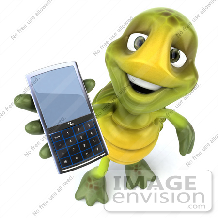 #49459 Royalty-Free (RF) Illustration Of A 3d Green Turtle Mascot Holding A Cell Phone by Julos