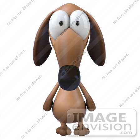 #49468 Royalty-Free (RF) Illustration Of A 3d Brown Wiener Dog Mascot Facing Front by Julos