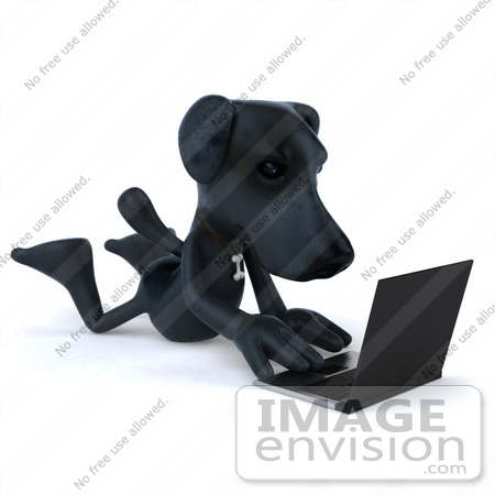 #49474 Royalty-Free (RF) Illustration Of A 3d Black Labrador Mascot Typing On A Laptop by Julos