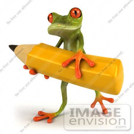 #49516 Royalty-Free (RF) Illustration Of A 3d Red Eyed Tree Frog Carrying A Large Yellow Pencil - Version 1 by Julos