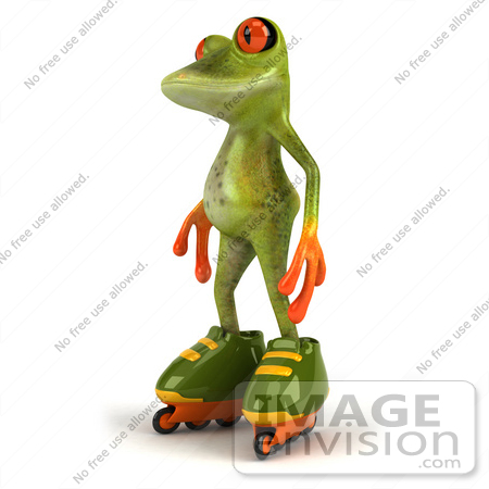 #49521 Royalty-Free (RF) Illustration Of A 3d Red Eyed Tree Frog Mascot Roller Blading - Version 1 by Julos