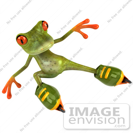 #49522 Royalty-Free (RF) Illustration Of A 3d Red Eyed Tree Frog Mascot Roller Blading - Version 4 by Julos