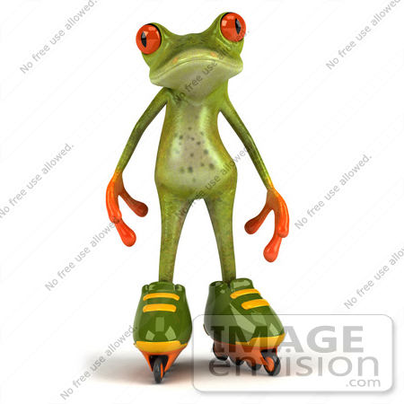 #49523 Royalty-Free (RF) Illustration Of A 3d Red Eyed Tree Frog Mascot Roller Blading - Version 2 by Julos
